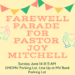 REMINDER — Pastor Joy Farewell Parade is Sunday June 14!