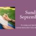 Sunday Worships September 19 at 8:30 and 11 am